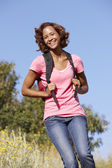 Woman on country hike — Stock Photo