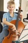 Boy playing cello — Stock Photo