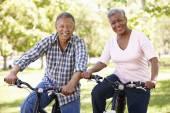 Senior  couple cyclin — Stock Photo