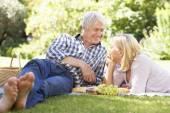 Senior couple with picnic — Stock Photo