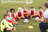 Junior football team training — Stock Photo