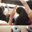 Young Friends Dancing In  Car — Stock Photo #64581817