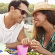 Couple Enjoying Lunch Outdoors — Stock Photo #64582663