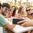 Friends Taking Selfie During Lunch — Stock Photo #64583371