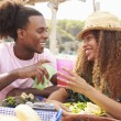 Couple Enjoying Lunch Outdoors — Stock Photo #64584983