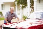 Senior Man Cleaning Restored Car — Stock Photo