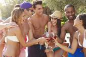 Friends Having Party By Pool — Stock Photo
