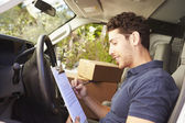 Delivery Driver In Van — Stockfoto
