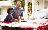 Grandfather And Grandson Restored Car — Stock Photo