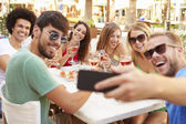 Friends Taking Selfie During Lunch — Stock Photo
