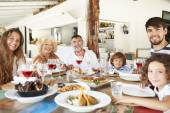 Multi Generation Family Enjoying Meal — Stock Photo