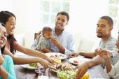 Friends With Babies Enjoying Meal — Stock Photo