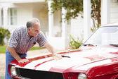 Senior Man Cleaning Restored Car — Stock Photo