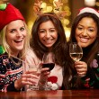 Group Of Friends Enjoying Christmas Drinks — Stok fotoğraf #68249423
