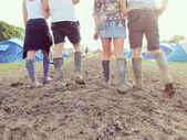 Friends In Wellington Boots Walking — Stock Photo