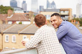 Two Male Friends On Rooftop — Stock Photo