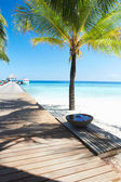 Wooden Jetty On  Beach In Maldives — Stock fotografie