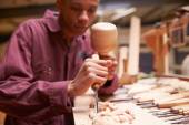 Apprentice Using Chisel To Carve Wood — Stock Photo