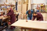 Staff Working In Carpentry Workshop — Stock Photo