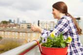 Woman Relaxing On Rooftop Garden — Stock Photo