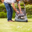 Man Working In Garden Cutting Grass — Stock Photo #68250117