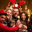 Group Of Friends Enjoying Christmas Drinks — Stok fotoğraf #68250129