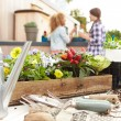 Women Planting Rooftop Garden — Stock Photo #68250309