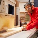 Apprentice Using Circular Saw — Stock Photo #68251117