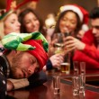 Man Passed Out On Bar During Christmas — Stok fotoğraf #68251185