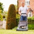 Man Working In Garden Cutting Grass — Stock Photo #68252171