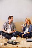 Expectant Couple Taking A Break — Stock Photo