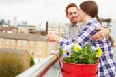 Couple Relaxing On Rooftop Garden — Stock Photo