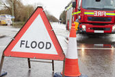 Warning Traffic Sign On Flooded Road — Stock Photo