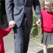 Father Walking To School With Children — Stock Video #71416119