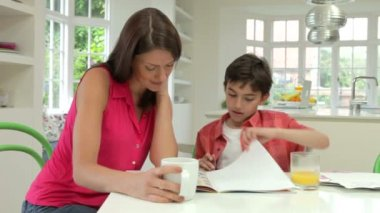 Mother Helping Son With Homework — Stock Video
