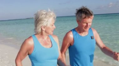 Senior couple as they walk along beautiful beach — Vidéo
