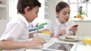 Children With Digital Tablet And Mobile — Stockvideo