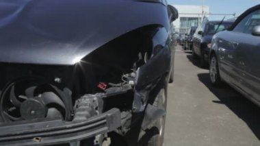 Car Pound For Vehicles Damaged In Traffic Accident — Stock Video