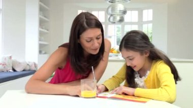 Mother Helping Daughter With Homework — Stock Video