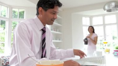 Man Having With Wife Breakfast — Stock Video