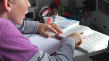 Boy Doing Written Homework — ストックビデオ