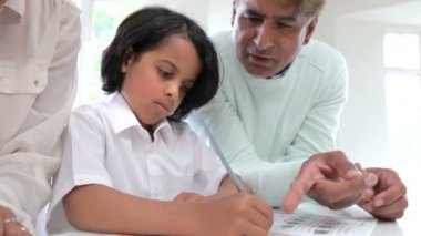 Grandparents Helping Grandchildren With Homework — Stock Video