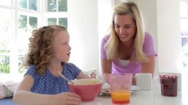Mother And Daughter Having Breakfast — Stock Video