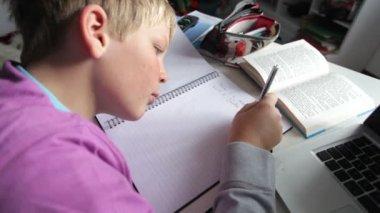Boy Doing Written Homework — Stock Video