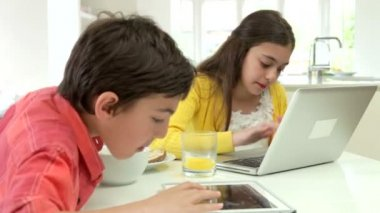 Children With Digital Tablet And Laptop — Stock video