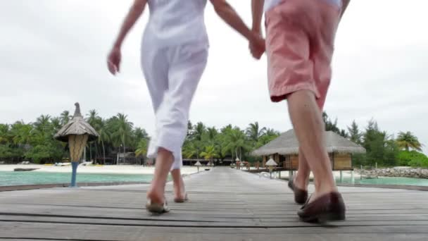 Senior Couple Walking On Jetty — Vidéo