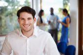 Businessman Attending Meeting In Boardroom — Stock Photo