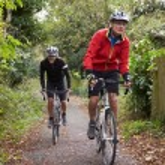 Mature Male Cyclists Riding Bikes — Stock Photo #71521309