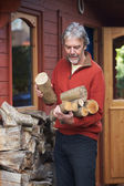 Mature Man Collecting Logs For Fire — Stock Photo
