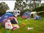 Campsite With Tents And Campervan — Stock Photo